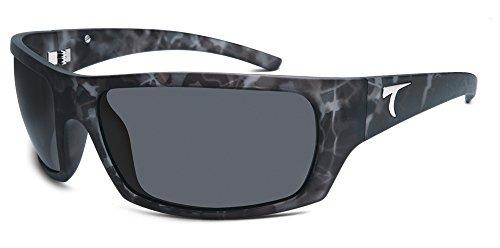 Typhoon Men's Cayucos Polarized Wrap Sunglasses, Matte Black Camo Frost/Aquaview Horizon Grey, 78 mm