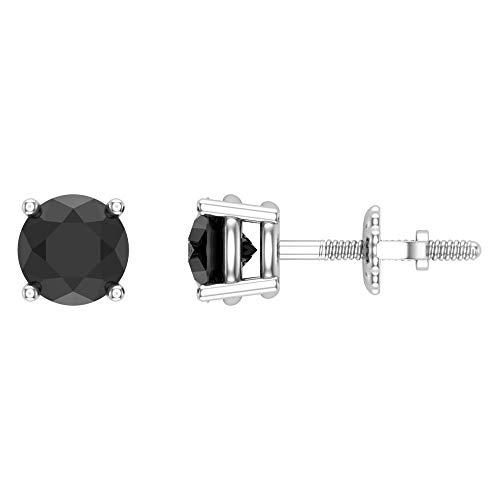Black Diamond Earrings for women-girls-men Round cut Diamond studs Gift Box Authenticity Cards 14K White Gold 1.00 carat t.w.
