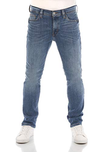 MUSTANG Herren Jeans Vegas Slim Fit Jeanshose Hose Denim Stretch Baumwolle Schwarz Grau Blau w30 - w40, Größe:34W / 34L, Farbvariante:Denim Blue (5000-313)