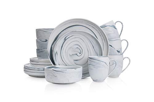 Stone Lain - Vajilla de porcelana fina, Matte Gray, 16 Piece Service for 4, 1