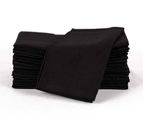 Amour Infini Baumwollservietten, 12er Pack, 45 x 45 cm, 100% ringgesponnene Premium Baumwolle, saugfähig | Schwarz