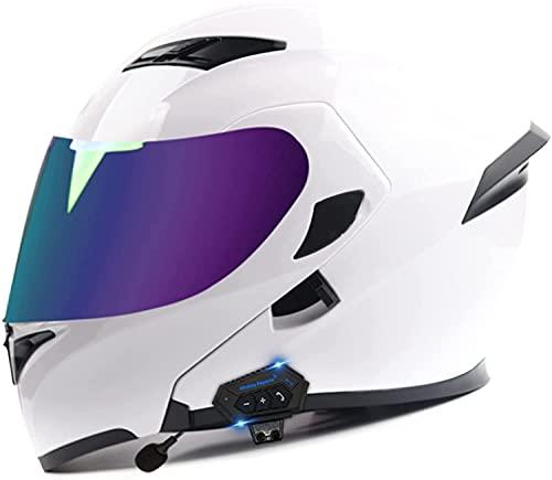 TKTTBD Cascos Modulares Abatibles Al Frente con Doble Visera, Mp3 Incorporado, Comunicación Integrada, Casco con Bluetooth para Motocicleta, Casco Completo, Aprobado por Dot/ECE D,XL