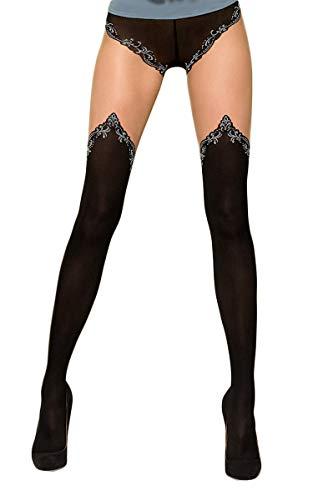 Selente Lovely Legs Originali collant effetto calze per reggicalze, nero/argento, XS/S