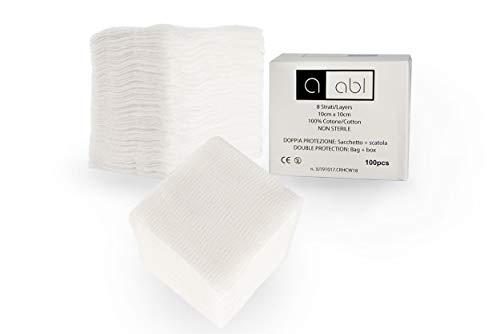 ABL Garze non Sterili 10x10 - 100 Quadrati di Garza Idrofila in Cotone a 8 Strati - Non Sfilacciano
