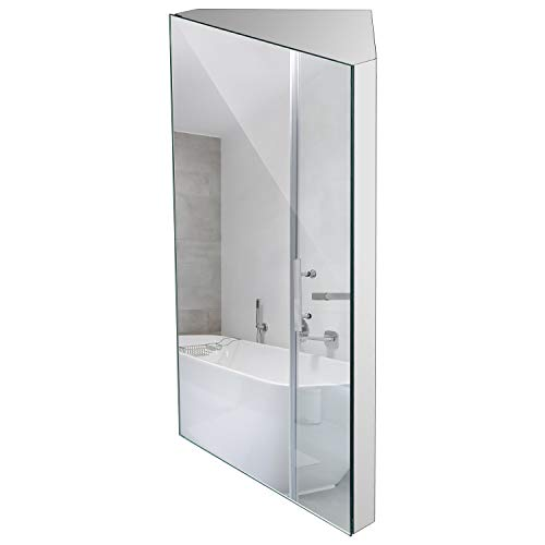 24 Inch Wall Mount Corner Medicine Cabinet with Mirror, Bathroom Wall Cabinet, Polished Stainless Steel - Left Open Mirror Door Three Shelves