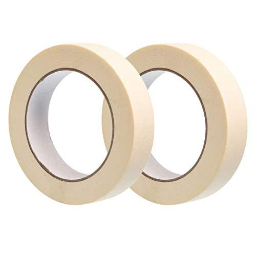 Gocableties, 2 Stück, 25 mm x 50 m Kreppband, Premium Malen und Dekorieren Malerband, Weiß