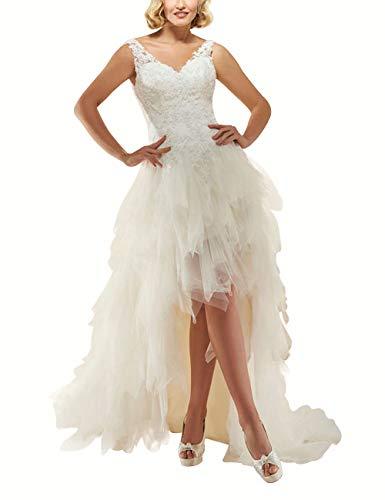 HUINI Brautkleider Asymmetrisch Tülle Spitze mit V-Ausschnitt Vintage Abendkleider Cocktailkleider Ballkleider Prinzessin Rückenfrei Weiß 32