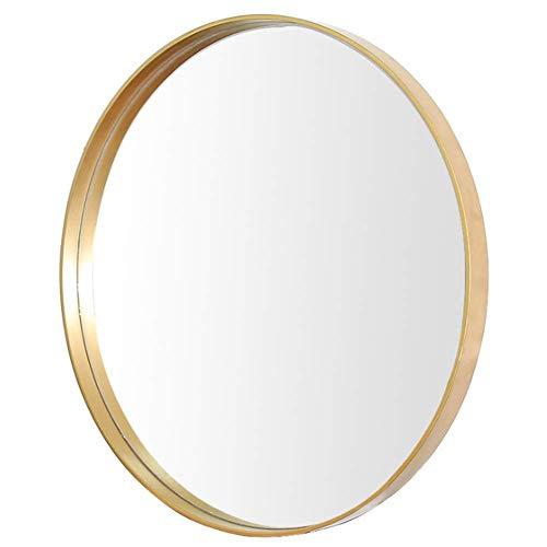 QTMHT Ronde Badkamer Spiegel Kleine No-Fog Douche Spiegel Gemaakt van Chroom-Coated Metaal Eenzijdige Make-up Spiegels Gouden 40cm