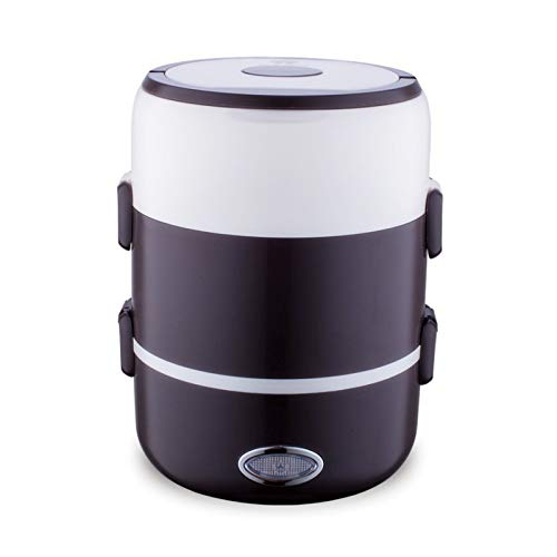 YHML Elektrische Lunchbox, Mini Portable Rice Insulated Lunch Box Rice Cooker Stainless Steel 2/3 Layer Steamer Food Container Insulation Cabinet 2L Sealed Fresh,Schwarz
