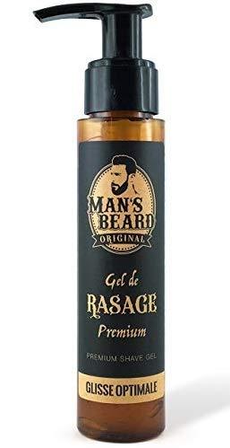 Man 's Beard–Creación francesa–Gel de afeitado de precisión para barba, transparente, con aloe vera, para pieles sensibles– 75 ml
