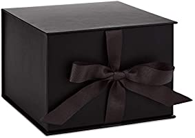 "Hallmark 7"" Large Black Gift Box with Lid and Shredded Paper Fill for Weddings, Birthdays, Halloween, Christmas,..."