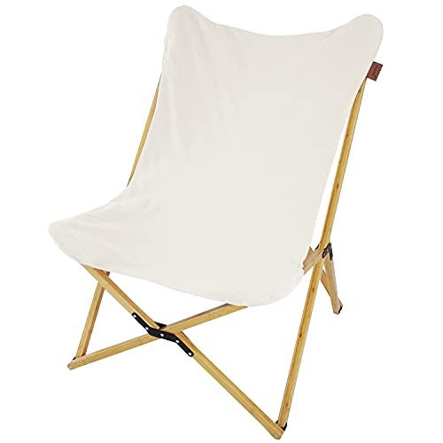 Skandika Liegestuhl Tofte aus Bambus und Baumwolle   XXL Schmetterling Sessel klappbar, 78 x 74 x 98 cm, max. 120 kg   Outdoor Campingstuhl, Klappstuhl für Garten, Balkon und Camping (beige)