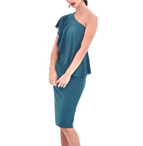 TONALA Vestido Mujer Fiesta Evento Elegante Midi Liso Entallado Hombro Descubierto (Verde, s) P220517