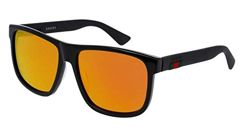 Gucci GG0010S 002 58M Black/Red Mirror Square Sunglasses For Men For Women+FREE Complimentary Eyewear Care Kit