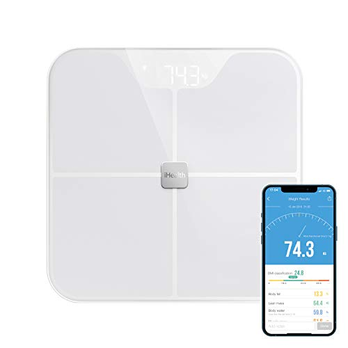 iHealth Nexus Body Fat Scale Smart BMI Scale Digital Bathroom Bluetooth Weight Scale Body Composition Analyzer with Tempered Glass Platform Large LED Backlit with Smartphone App 400 lbs  White