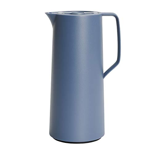 Emsa N41703 Motiva Isolierkanne   1 Liter   Quick-Press-Verschluss   12h heiß, 24h kalt   Glaskolben   Made in Germany   Nordisches Design   Nord Blau