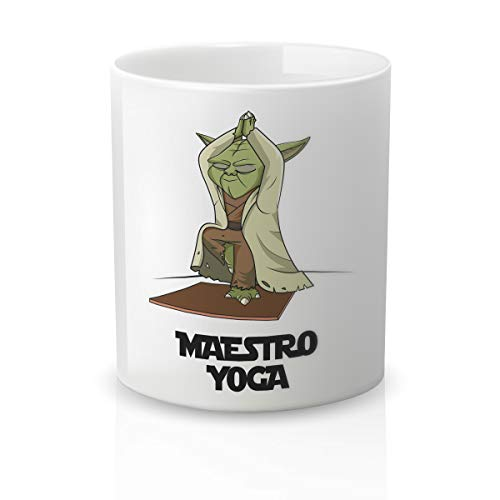 Yujuuu! | Taza cerámica Original Cine. Resistente 100% al microondas y lavavajillas. Taza con Mensaje Maestro Yoga.
