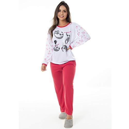 Pijama Manga Longa Feminino em Malha Suave PV   159 Cor:Vermelho;Tamanho:G