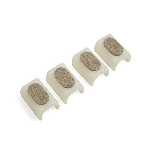Design61 Filzgleiter 4er Set für Freischwinger Stuhlgleiter Ø 24-25 mm Möbelgleiter mit geräuschdämpfender Filzgleitfläche