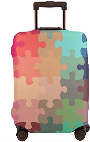 Puzzel Patroon Reizen koffer Cover Protector Bagage Beschermende Cover Wasbare Bedrukte Rits Bagage Koffer Cover