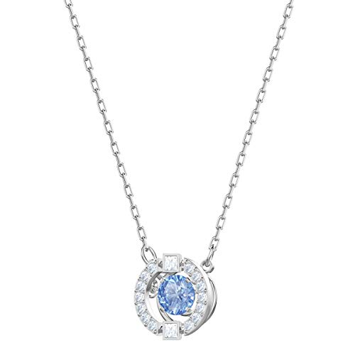 Swarovski Sparkling Dance Round Jewellery Set - Women's Swarovski Necklace and Earring Pair with White and blue Crystals in a Rhodium Plating
