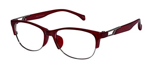 Lensport Eyewear Men's and Women's Semi-Rimless Round Eyeglasses Eye Frame - Medium, Red
