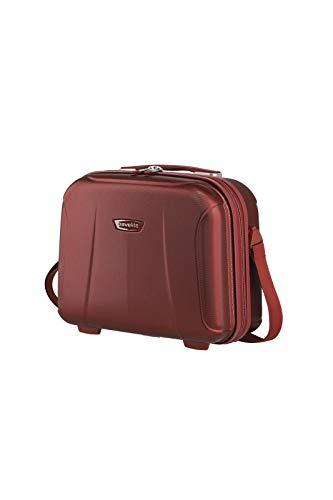 travelite leichte Handgepäck Kosmetikkoffer mit Liquids Bag + Aufsteckfunktion, Gepäck Serie ELBE: Widerstandsfähiges Hartschalen Beautycase, 075502-10, 19 Liter, 1,6 kg, rot