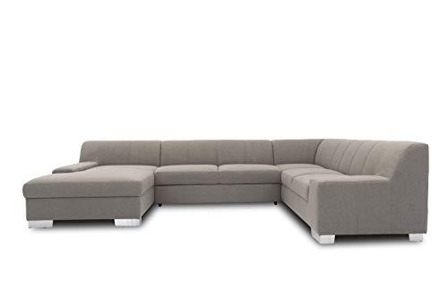 DOMO. collection Bero Wohnlandschaft, Sofa U-Form, Couch, Polstergarnitur, grau, 153x328x212 cm