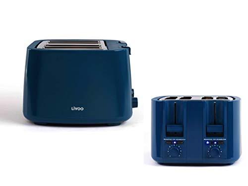 Tostadora de 4 rebanadas de color azul, termostato regulable (4 ranuras, 150 W, 7 niveles, bandeja para migas)