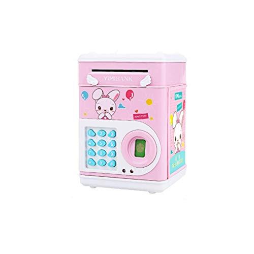 WYJW Alcancía Banco de Dinero Bancos de Monedas Desplazamiento automático Caja de Ahorro de Dinero de Papel Contraseña Banco de Monedas para niños, niños y niñas Mejor (Color: Rosa)