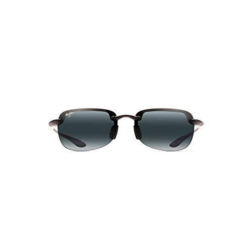 Maui Jim Sandy Beach Asian Fit - Gafas de sol rectangulares, negro (Negro brillante / gris neutro polarizado), Small