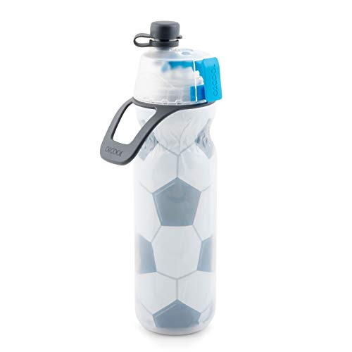 O2COOL Insulated Water Bottle, Mist 'N Sip Sports Series, 20 Ounce, Soccer