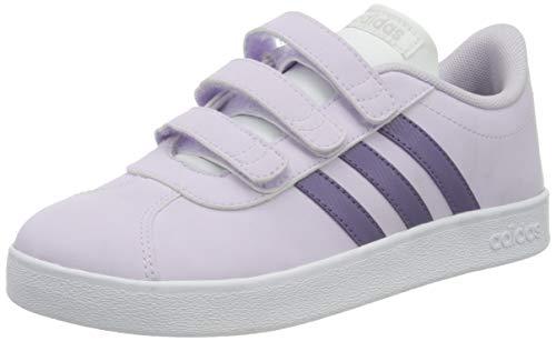 adidas Unisex-Child VL Court 2.0 CMF Sneaker, Purple Tint/Tech Purple/Footwear White, 32 EU