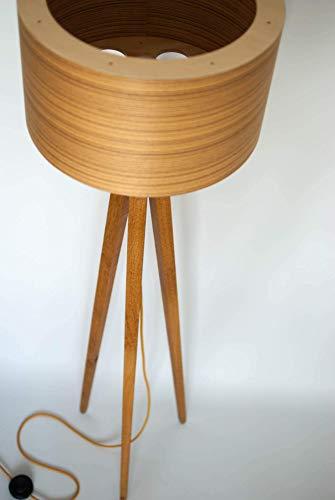 Tripod Stehlampe Dreibein Retro 60-70iger Design Holzfurnier Tripod Floor Lamp veneer standard lamp