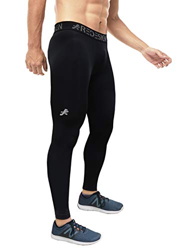 ReDesign Apparels Men's Nylon Compression Pants for Gym, Running, Swimming and Sports, Large (Black)