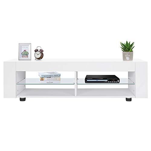 Gototo TV-meubel, wit, voor kast, tv, kast, hoogglans, met LED-verlichting, 16 kleuren, TV-meubel, onderkast, L134 x B39 x H29 cm