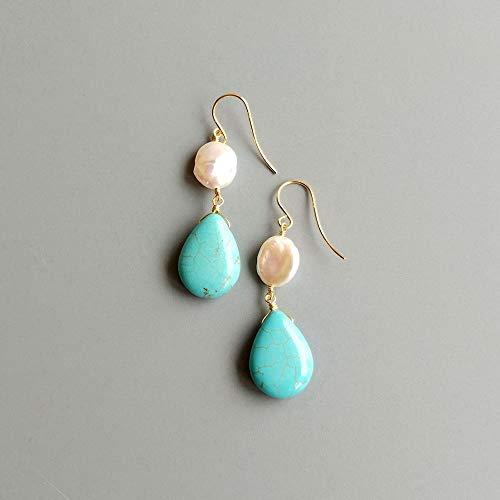SALAN Baro Pearl Blue Turquoise Drop Beads 925 Pendientes De Plata Esterlina Pendientes Hechos A Mano Joyas Delicadas