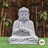 IDYL Granit-Stein Figur Buddha - Frostfest - Höhe 50 cm - grau - Asiatische Gartendekoration