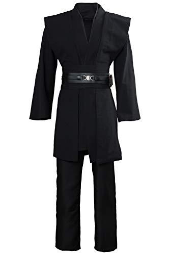 Disfraz de película Fancy Dress con cinturón y pantalones de lujo, túnica blanca/marrón/negro, disfraz de Halloween para adultos Negro XS