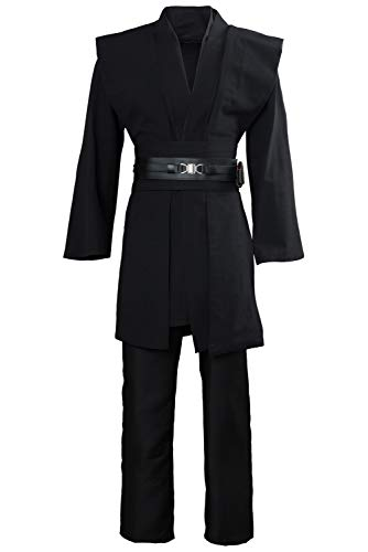 Uomo Costume da Film Fancy Dress Cintura Pantaloni Pantaloni Deluxe Tunica Nera Cosplay di Halloween per Adulti, XL