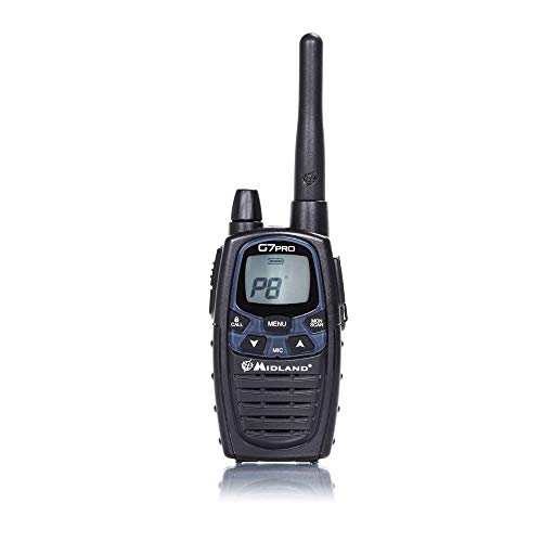 Midland G7 Pro Radio Ricetrasmittente Walkie Talkie Dual Band 16 Canali PMR446 e 69 Canali LPD, 4 Batterie Ricaricabili Ni-MH AA 1.2 V/1800 mAh, Caricabatterie e Clip Cintura