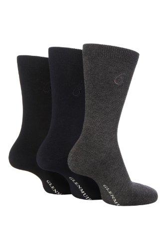 Glenmuir Herren 3 Paar Klassische Bamboo einfarbige Socken In 4 Colours - 7-11 Mens - Schwarz/Navy/Grau