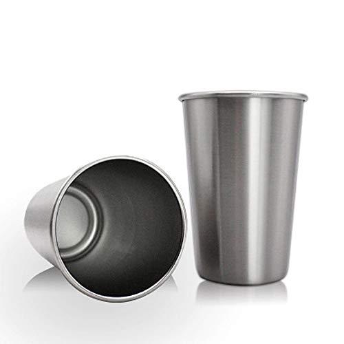 Vasos de acero inoxidable, apilables e insípidos, vasos de metal sin BPA, sostenibles para camping al aire libre, fiestas, niños (juego de 5, 500 ml/17 oz)