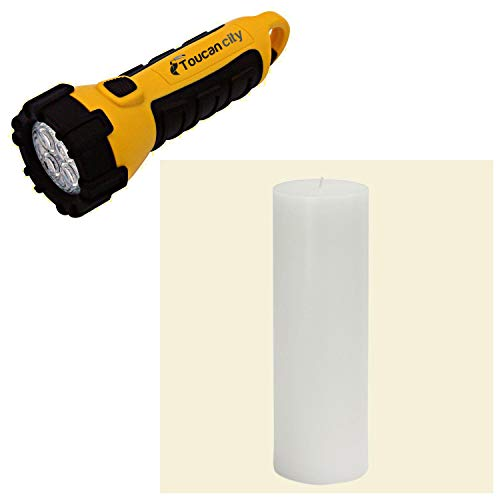 Toucan City LED Flashlight and Zest Candle 3 in. x 9 in. White Hand-poured Pillar Candles Bulk (Case of 12) CPZ-093_12