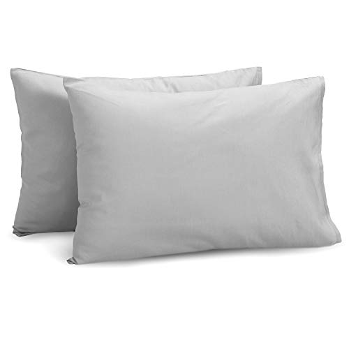 TILLYOU Cotton Collection Breathable Toddler Pillowcases Set of 2 Machine Washable & Super Soft, 14x20 - Fits Pillows Sized 12x16 13x18 or 14x19, Envelope Closure Travel Pillow Case Cover, Gray