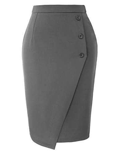 Women's High Waist Midi Stretch Bodycon Pencil Skirt for Work Gray S