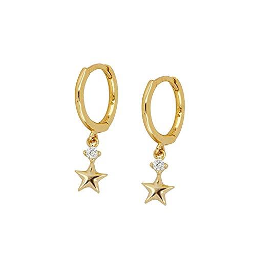 YFZCLYZAXET Pendientes Mujer Plata Minimalista Estrella De Cinco Puntas Hongo Blanco Hebilla Pendientes De Diamantes Pendientes De Moda Pendientes De Aro Mujer-Oro