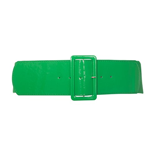 eVogues Plus Size Wide Patent Leather Fashion Belt Green - One Size Plus