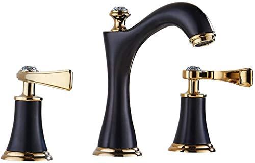 Grifo de lavabo retro negro Grifo de lavabo de baño antiguo europeo Grifos monomando de agua caliente y fría Grifos de bañera de tres orificios con doble manija Vintage clásico Instalación de cubierta