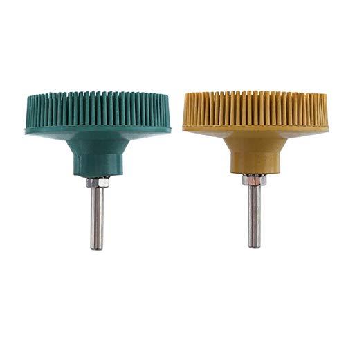 SSXPNJALQ 2X 3 Zoll Grün Polierräder Grit 50 Radial Bristle Disc Emery Gummischleifbürste 1 / 4Inch 6.35mm & Yellow Grit 80 Promotio